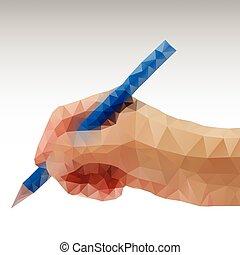 Hand writing Abstract polygonal