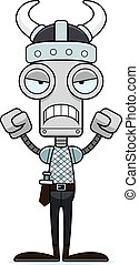 Cartoon Angry Viking Robot - A cartoon Viking robot looking...