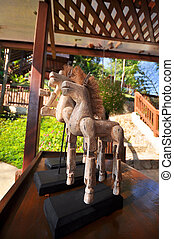 Handmade wooden horse for table decorations.