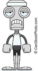 Cartoon Sad Fitness Robot - A cartoon fitness robot looking...