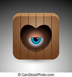 Cartoon eye icon - Cartoon blue eye looking through heart...