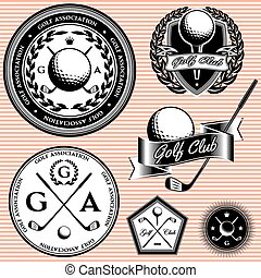 set of emblems to topic golf game - set of vector emblems to...