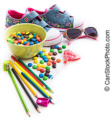 children's stuff and sweets - colorful children's stuff and...
