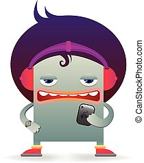 Funny cartoon in modern youth style, vector illustration