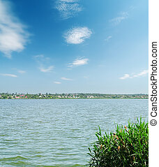 river and blue sky with clouds