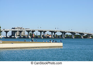 Miami Biscayne Bay Bridge, Florida USA