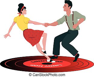 Lindy Hop record - Young Caucasian couple dressed in late...