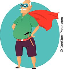 Super grandpa - Cartoon old man in a mask and a superhero...