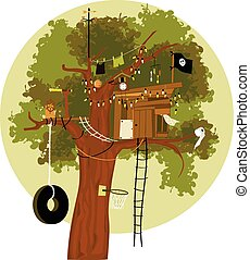 Tree House - Cartoon tree house with a pirate flag, tire...