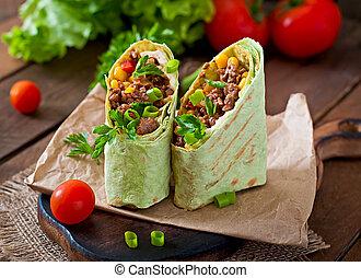 Burritos, Envuelve, con, picado, carne de vaca,