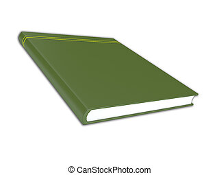 3D render illustration of generic green book with no title...