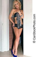 sexy woman in doorway