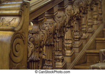 Carved wooden stairs