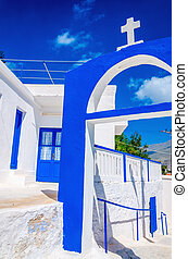Greek church with blue colors on Kalymnos, Greece - A view...