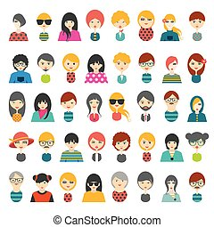 Big set of avatars profile pictures flat icons. Vector...