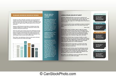 Booklet page. Magazine layout for infographics. Web...