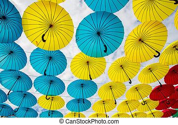 Multi-colored umbrellas