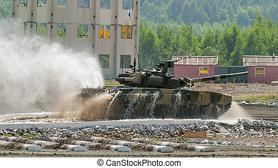 Tank T-80 moves after water ford - Nizhniy Tagil, Russia -...