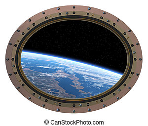 Futuristic Space Station Porthole. View From Space.. -...