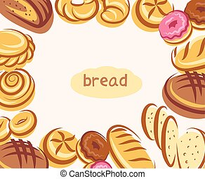 Bread background with text in center and bread icons around