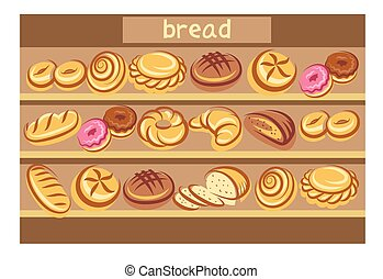 set of bread - Cartoon bread multicolored icons on the...