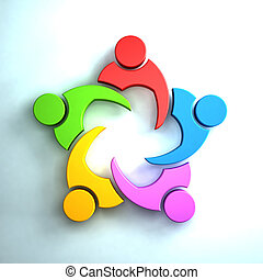 3D Group of people in a meeting. Teamwork concept