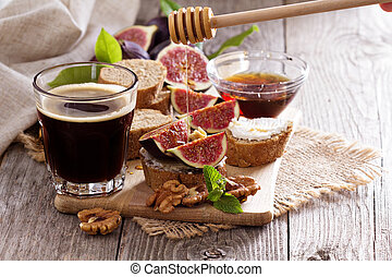 Coffee with figs and cheese bruschetta - Coffee with figs,...