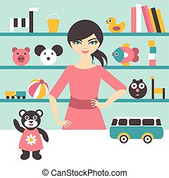 Toy stores sales woman Flat design