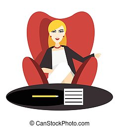 Director Business woman in work Flat vector