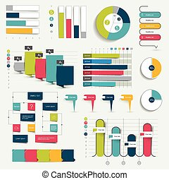 Collection of charts, graphs, flowcharts. Infographics.