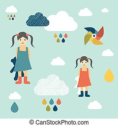 Kids wall paper pattern Girl concept