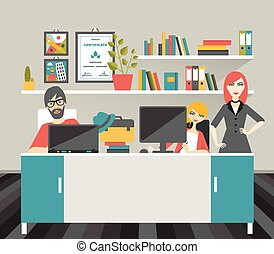 Colleague office workplace Flat vector illustration