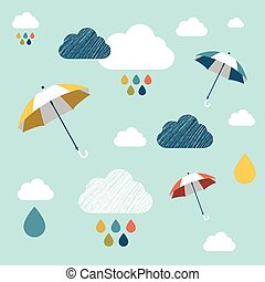 Kids wall paper pattern. Colored umbrella and clouds.