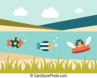 Summer beach. Sea cross section. Fishes and turtle. Flat...