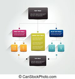 Infographics flowchart Colored shadows scheme