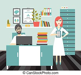 Doctor and nurse office workplace. Flat vector illustration....