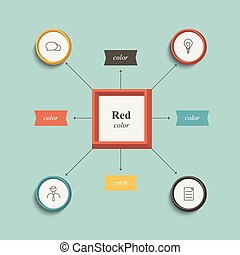 Flowchart, workflow chart. Flat design. Retro color style.