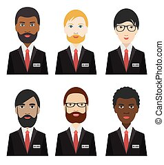 Various ethnicity business men.  Flat illustration.