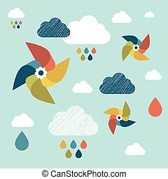 Kids wall paper pattern. Colored pinwheel and clouds.