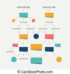流れ, チャート, scheme., Infographics, elements.,...