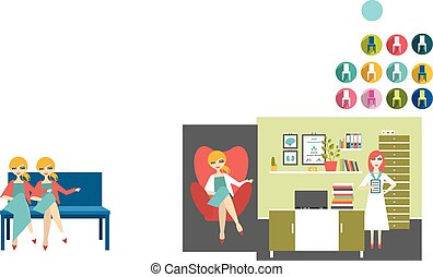 Woman doctor and nurse office workplace. Flat vector...