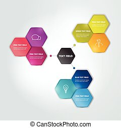 Circle hexagonal scheme, chart Infographics flowchart