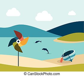 Summer beach with yellow umbrella. Flat design.