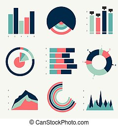 Flat charts, graphs. Vector design.