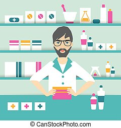 Young pharmacy chemist man standing in drugstore Flat vector...
