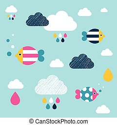 Kids wall paper pattern. Colored fishes and clouds. - Kids...