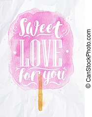 Cotton candy sweet love - Poster watercolor cotton candy...