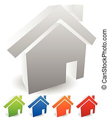 3d house icons. Editable vectors. Home, homepage, real...