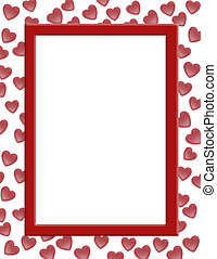 Valentines day border hearts - Illustration composition red...