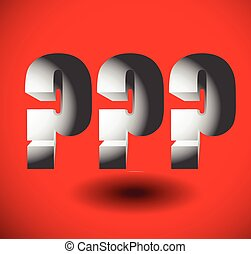 Bold, 3d question marks. 3 question marks for problem, riddle or concepts related to questions.